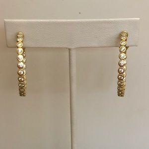 Diamonique Hoop Earrings-NWOT